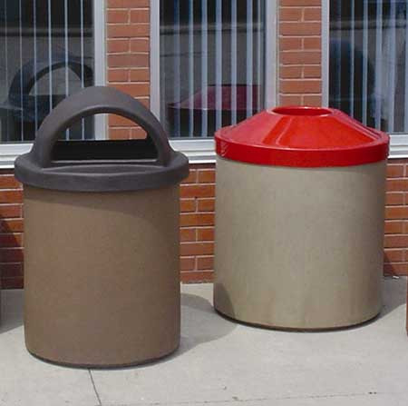 55-Gal. Concrete Trash Receptacle - Pitch-In Lid or Hooded Lid