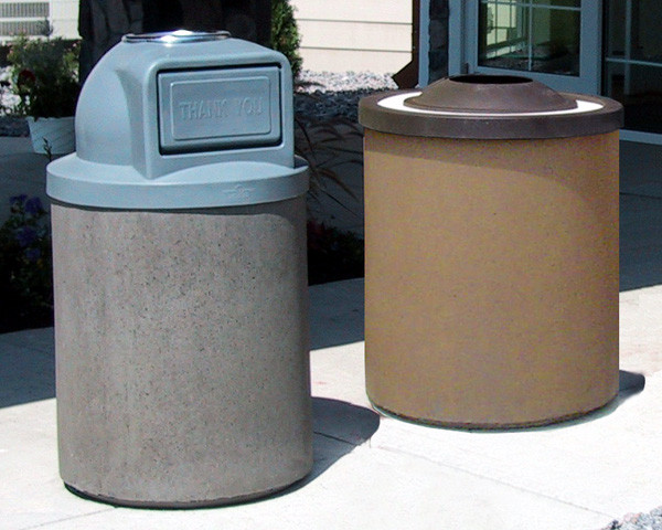 35-Gallon Economy Ash and Trash Receptacle with Dome or Pitch-In Lid.