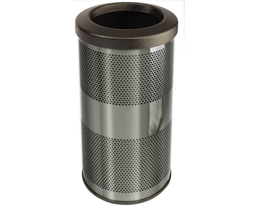 10-Gal. Stadium Series Round Open Top Stainless Steel Trash Receptacle