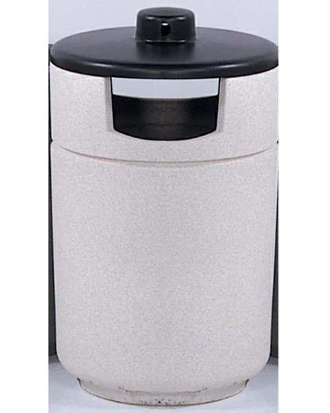 27-Gal. Stadium Series Round Covered Top Poly-Concrete Trash Receptacle