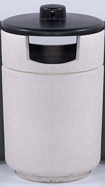 60-Gal. Stadium Series Covered Top Poly-Concrete Ash/Trash Receptacle