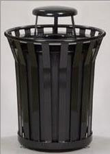 36 Gal. Receptacle with Rain Cover Lid and Plastic Liner