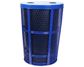 48-Gal. Expanded Metal Flat Top Outdoor Recycling Container w 2 Openings