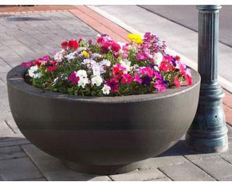 4' Round Concrete Bowl Planter