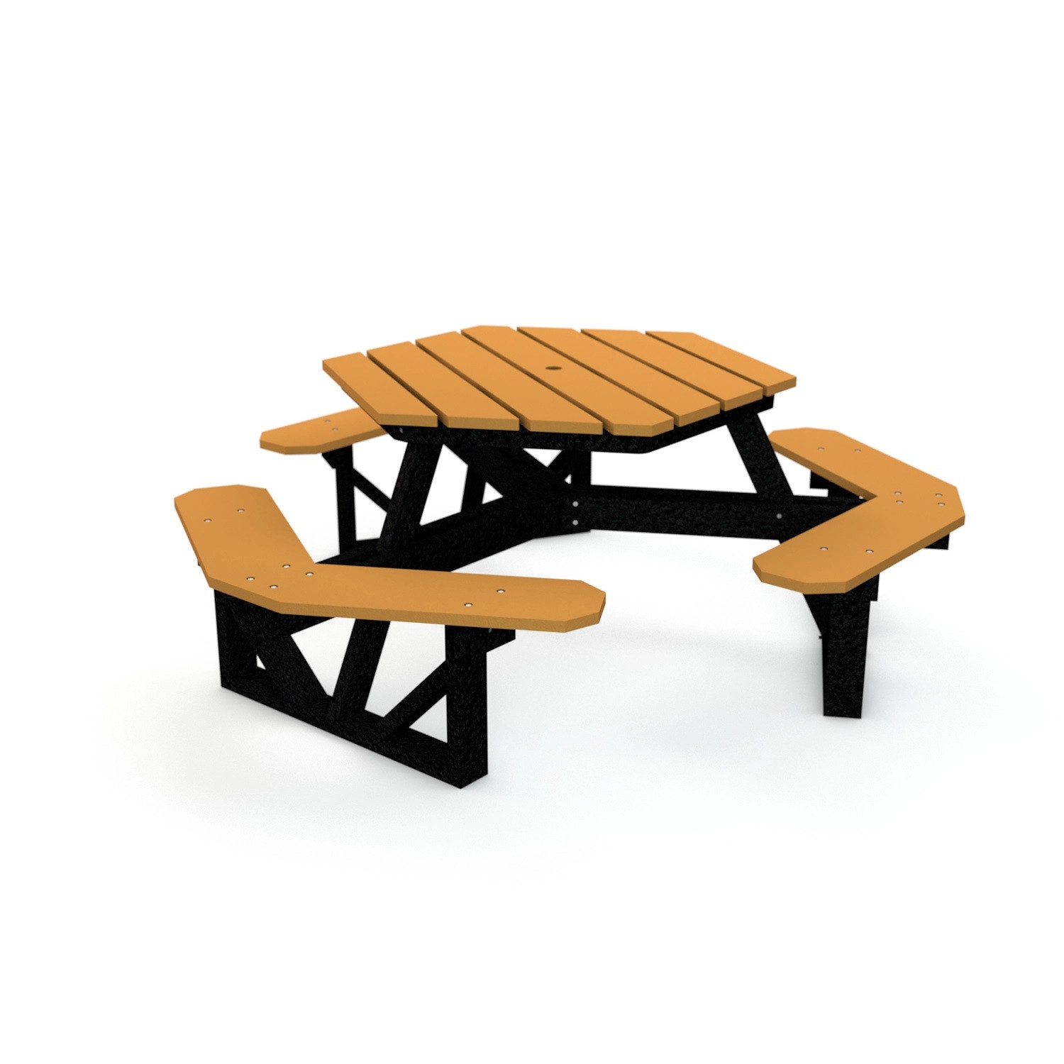 6' Hexagonal Recycled Plastic Picnic Table