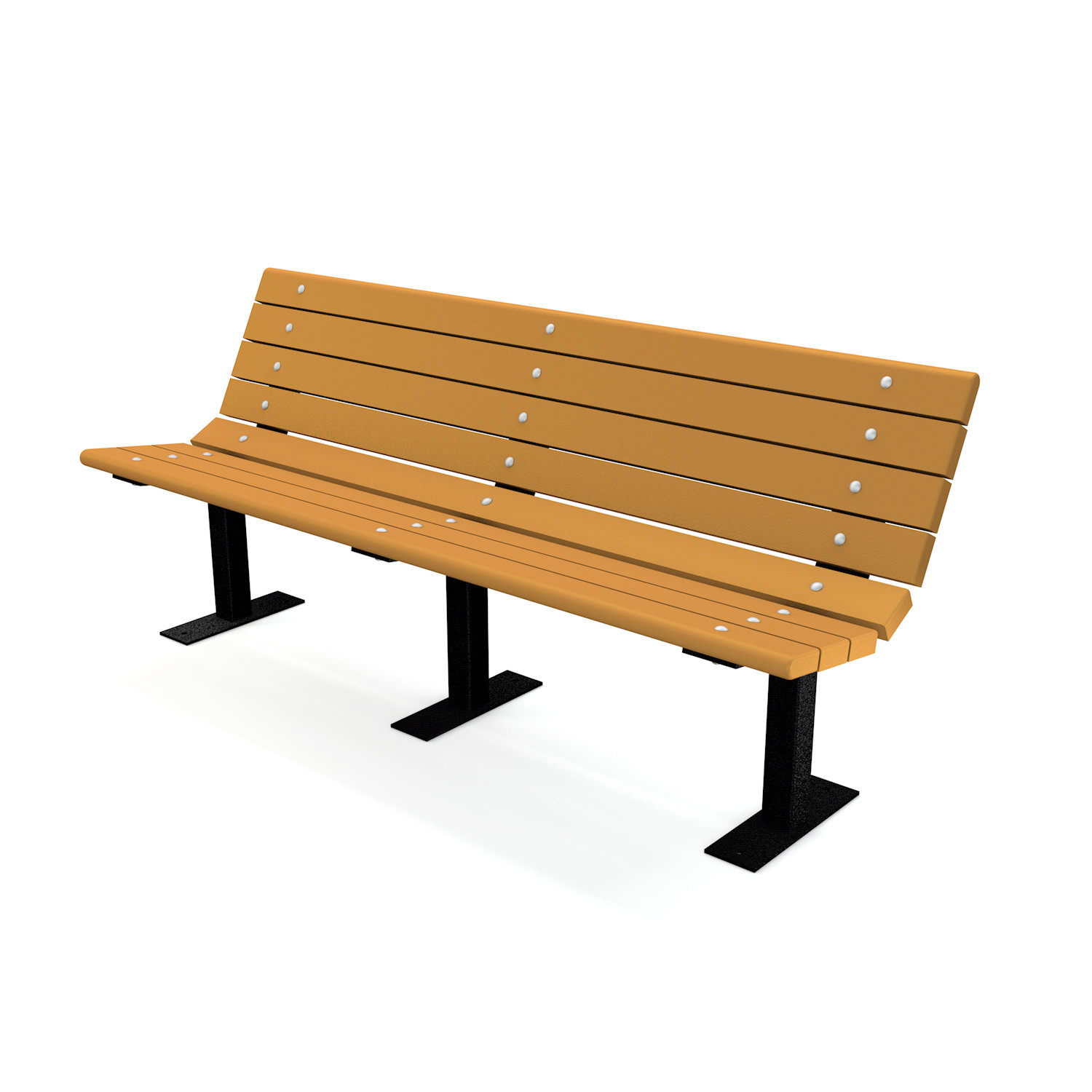 Contour Recycled Plastic Bench with Steel Frame - 6FT