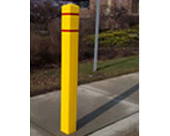 "Post Guard-Square yellow/red tape Post 4.5"" X 4.5"""