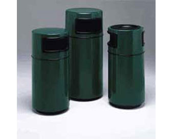 25-Gal. Cambridge Covered Top Fiberglass Trash Receptacle 2 Side Openings