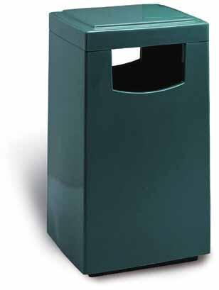 32-Gal. Amber Covered Top Fiberglass Trash Receptacle w 2 Push Doors