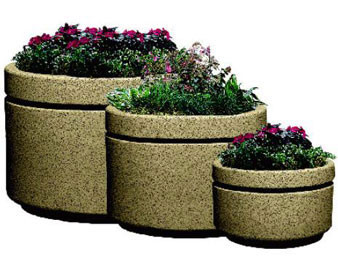 Round Boulevard Fiberglass Planters with Various Sizes, Finishes & Colors Available