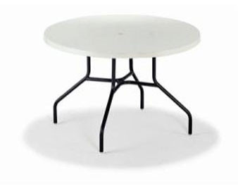 Slate Fiberglass Top Collection 48D Dining Table with Umbrella Hole
