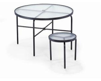 Acrylic Top Collection 48D Dining Table with Umbrella Hole