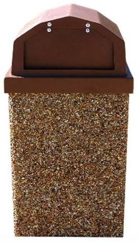 40-Gallon Receptacle & Raised Lid w One Spring Loaded Door - Std Colors
