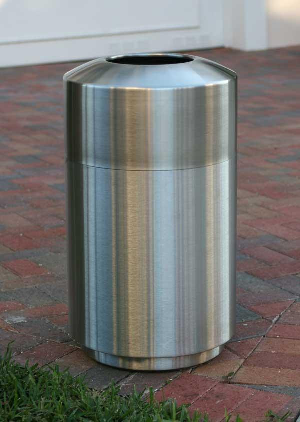 39-Gal. Top Loading Brushed Stainless Steel Trash Receptacle