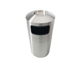 39-Gal. Brushed Stainless Steel Trash Receptacle with Ashtray or Tray Top