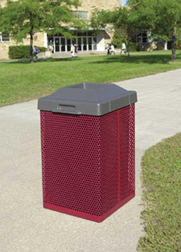 38-Gal. Square Open Top Coated Metal Trash Receptacle with Liner