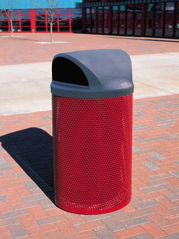 41-Gal. Round Covered Top Coated Metal Trash Receptacle w Liner