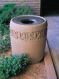 31-Gal. Westlake I Round Open Top Concrete Trash Receptacle w Liner