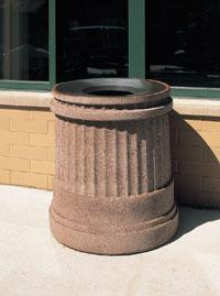 31-Gal. Round Open Top Concrete Trash Receptacle with Liner - 25D x 34H