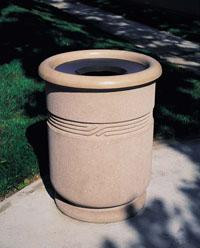 25-Gal. Round Open Top Concrete Trash Receptacle with Liner - 29D x 36H