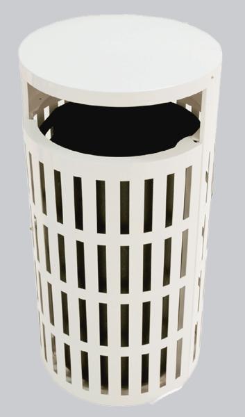 41-Gal. Round Covered Top Steel Trash Receptacle w Side Door & Liner