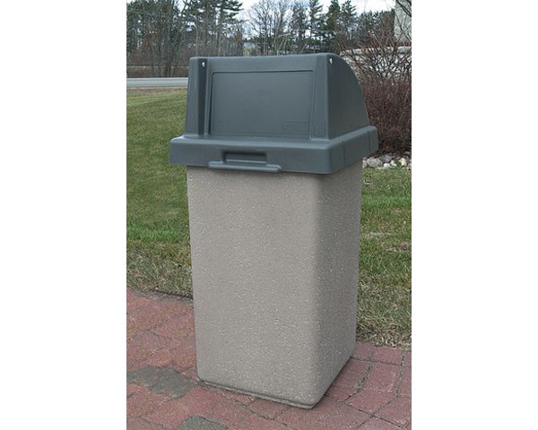 30-Gal. Square Receptacle with Push Door Lid