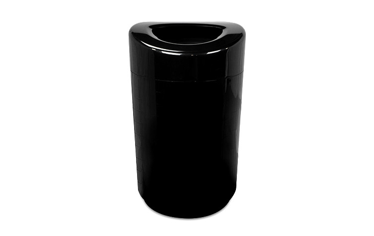 32 Gallon Executive Series Open Top Steel Trash Receptacle - Black