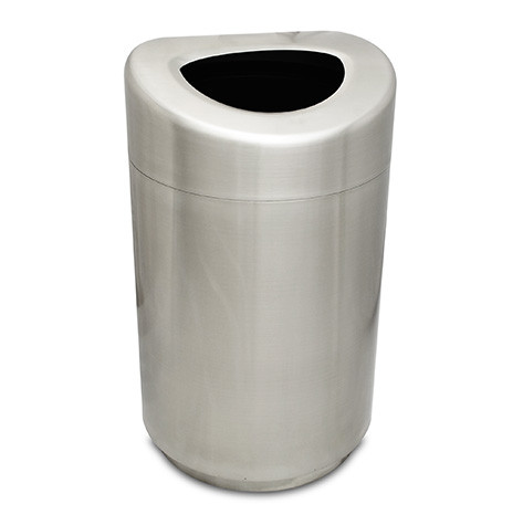 32 Gallon Executive Series Open Top Steel Trash Receptacle - Stainless Steel