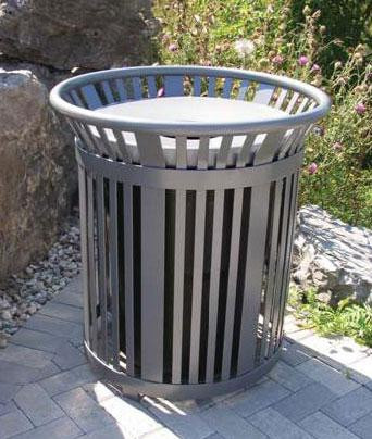 34 Gallon Round Open Top Steel Trash Receptacle - 30.8Sq. x 34.83H