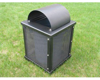 32 Gallon Plastisol Coated Trash Receptacle w Arch Lid, Exp. Metal Sides