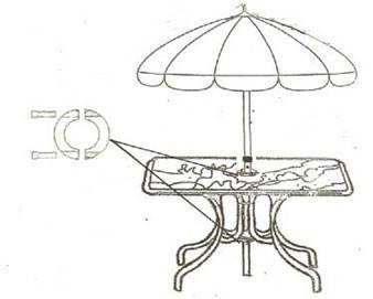 UBrace-2 secures 1.5 diameter Umbrellas for patio tables 45-70 lbs