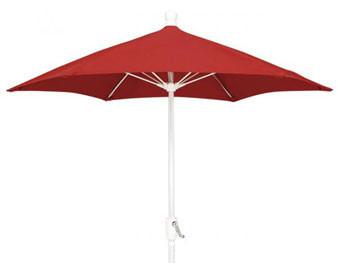 7.5' Patio Umbrella w Olefin Fabric & Crank Lift - Bright Aluminum Pole