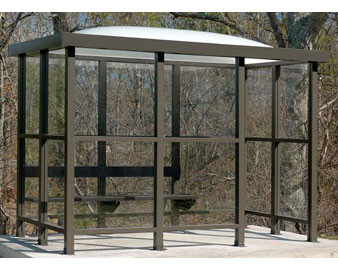 Dome Roof 1 Opening Smoking/Bus Shelter - With Bench
