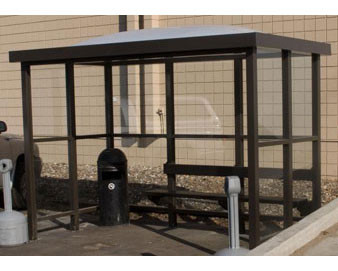 Dome Roof Open Front Smoking/Bus Shelter - With Bench