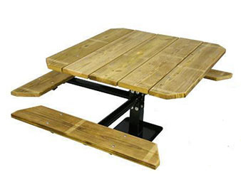 48 Single Pedestal Wooden Inground ADA Picnic Table with 3 Seats