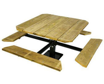 48 Single Pedestal Wooden Surface Mount Picnic Table