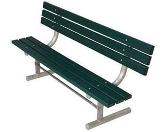 Recycled Plastic Park Bench with Back