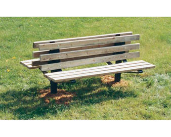 8-Ft. Wooden Double Sided Pedestal Bench