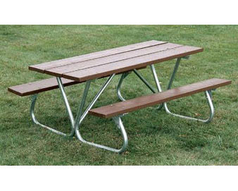 Recycled Plastic Picnic Table with Bolt-Thru Frame