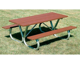 Heavy-Duty Recycled Plastic Picnic Table with Bolt-Thru Frame