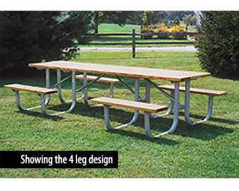 ADA  Heavy Duty Wooden Shelter Picnic Table with 2 Legs