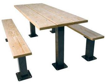 6-Ft. Multi Pedestal Wooden Surface Mount Picnic Table