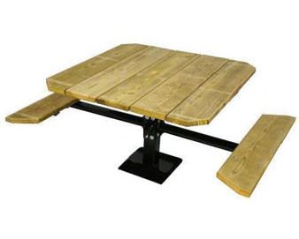 48 Single Pedestal Recycled Plastic ADA Picnic Table with 2 Seats