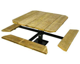 48 Single Pedestal Aluminum ADA Picnic Table with 3 Seats