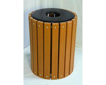 32-Gal. Wooden Slat Trash Receptacle