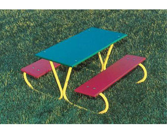 3-Ft. Multicolor Preschool Picnic Table with Yellow Frame
