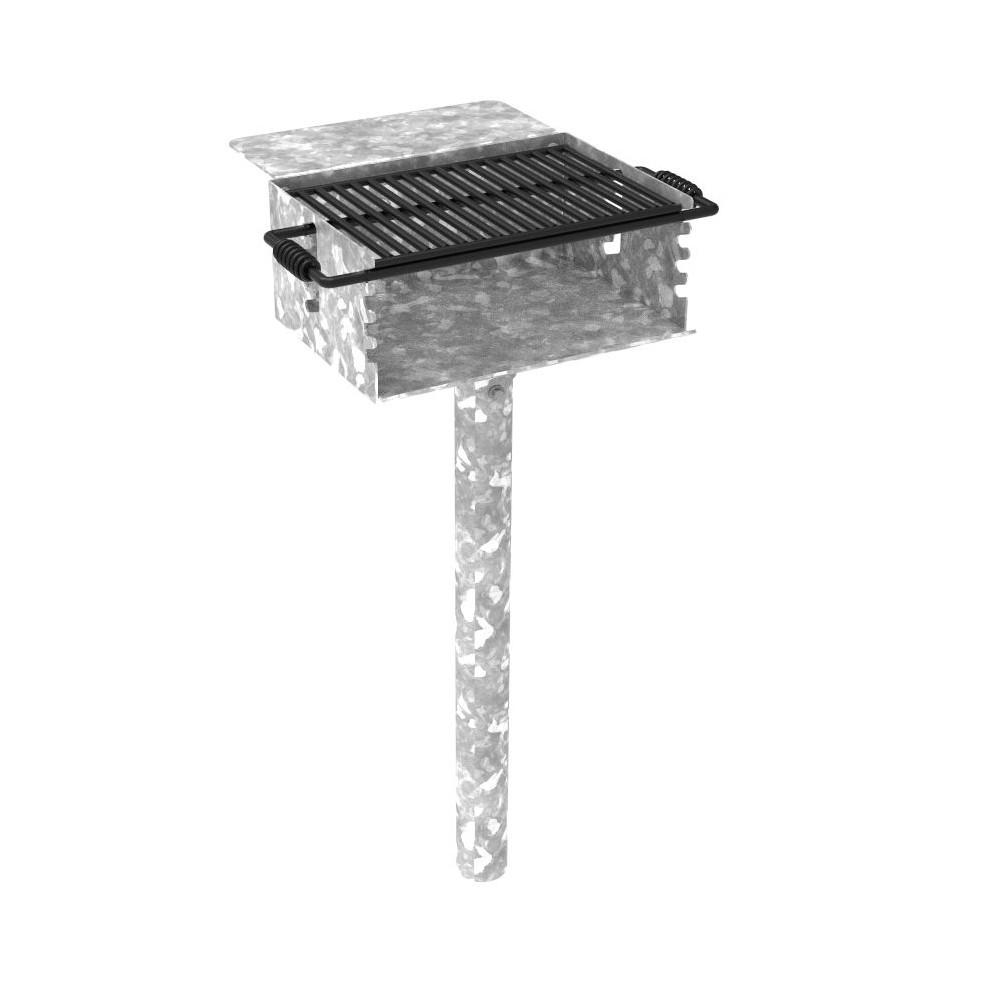 280 Sq. Rotating Flipback Pedestal Galvanized Grill with Utility Shelf