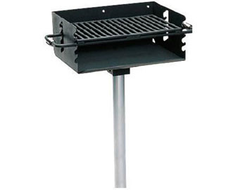 280 Sq. Rotating Flipback Pedestal Galvanized Grill with Utility Shelf