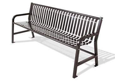 Plaza Strap Metal Bench with Backrest