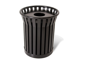 Plaza Steel Strap Trash Receptacle - 36 Gallon